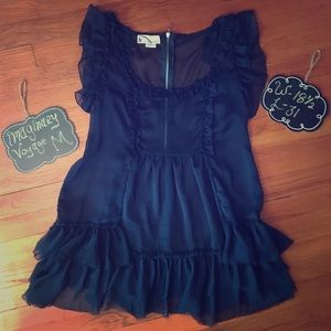 Excellent Used Condition Sheer Navy Ruffled Tunic